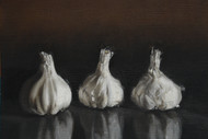 Garlic by Kiran Kumari B, Realism Painting, Oil on Paper, Gray color