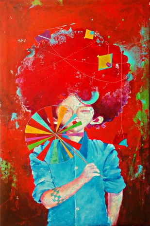 The childhood 10 by shiv kumar soni, Expressionism Painting, Acrylic on Canvas, Red color