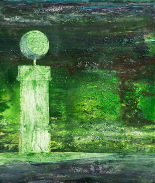 SENTINEL SERIES, GREEN by Adil Writer, Expressionism Painting, Acrylic on Canvas, Green color