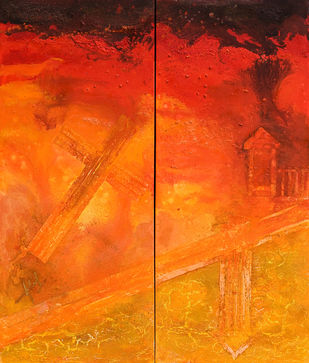 SENTINEL SERIES - VERMILLION by Adil Writer, Abstract Painting, Acrylic on Canvas, Orange color