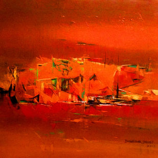 Untitled by Dnyaneshwar Dhavale , Abstract Painting, Acrylic on Canvas, Red color