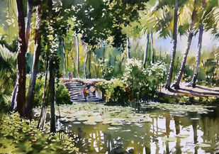 lotus pond by Sunil Linus De, Impressionism Painting, Watercolor on Paper, Green color