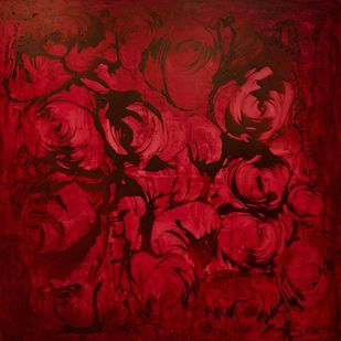 FIRST LOVE,FIRST TIME-BREAKING MY VIRGINITY-III by PRATAP SINGH, Abstract Painting, Acrylic on Canvas, Red color