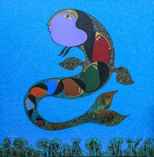 Matsya by Kiran sherkhane , Decorative Painting, Acrylic on Canvas, Blue color