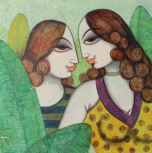 friend by Varsha Kharatmal, Decorative Painting, Acrylic on Canvas, Green color