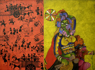 Returning from a village fair Digital Print by Sunita Dinda,Traditional