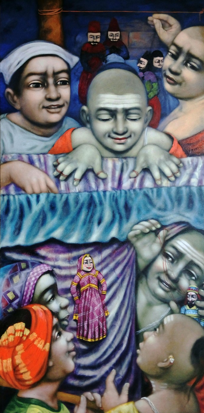 Katputli by Apet Pramod Mahadev, Expressionism Painting, Acrylic on Canvas, Blue color