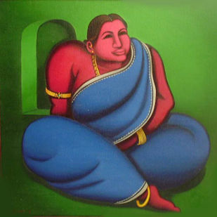 """Motia, Women,Painting, Oil on canvas, Blue, Green, Red, Golden colors """"In Stock"""" by Subrata Saha, Expressionism Painting, Oil on Canvas, Green color"""
