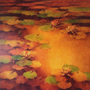 Waterlilies by Swati Kale, Impressionism Painting, Oil on Canvas, Brown color