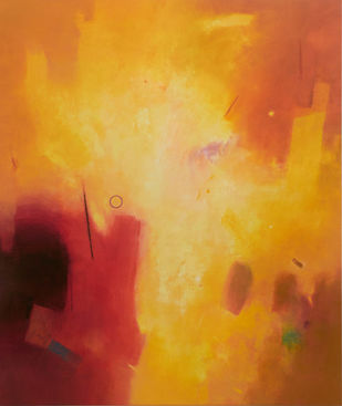 Involution by Ganpat N Bhadke, Abstract Painting, Acrylic on Canvas, Orange color