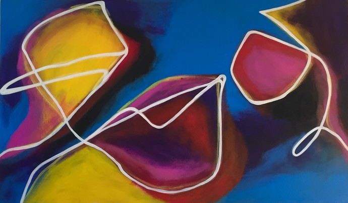 Family by Vernika, Abstract Painting, Acrylic on Canvas, Blue color