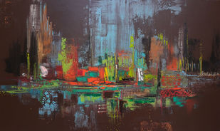 Retreat by Sheetal Singh, Abstract Painting, Acrylic on Canvas, Brown color