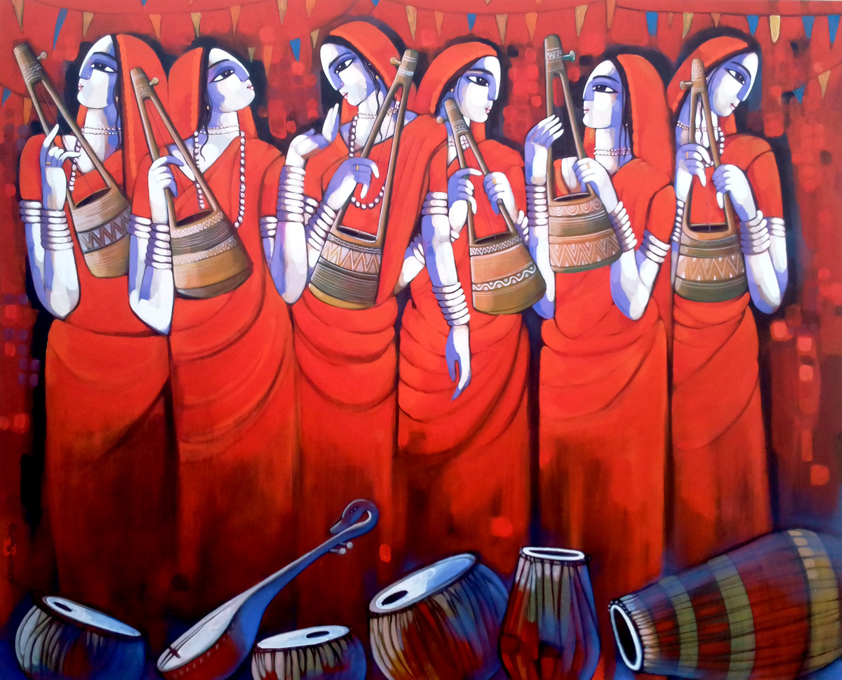 Baul by Sekhar Roy, Decorative Painting, Acrylic on Canvas, Pink color