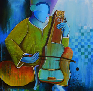musician by anupam pal, Decorative Painting, Acrylic on Canvas, Green color