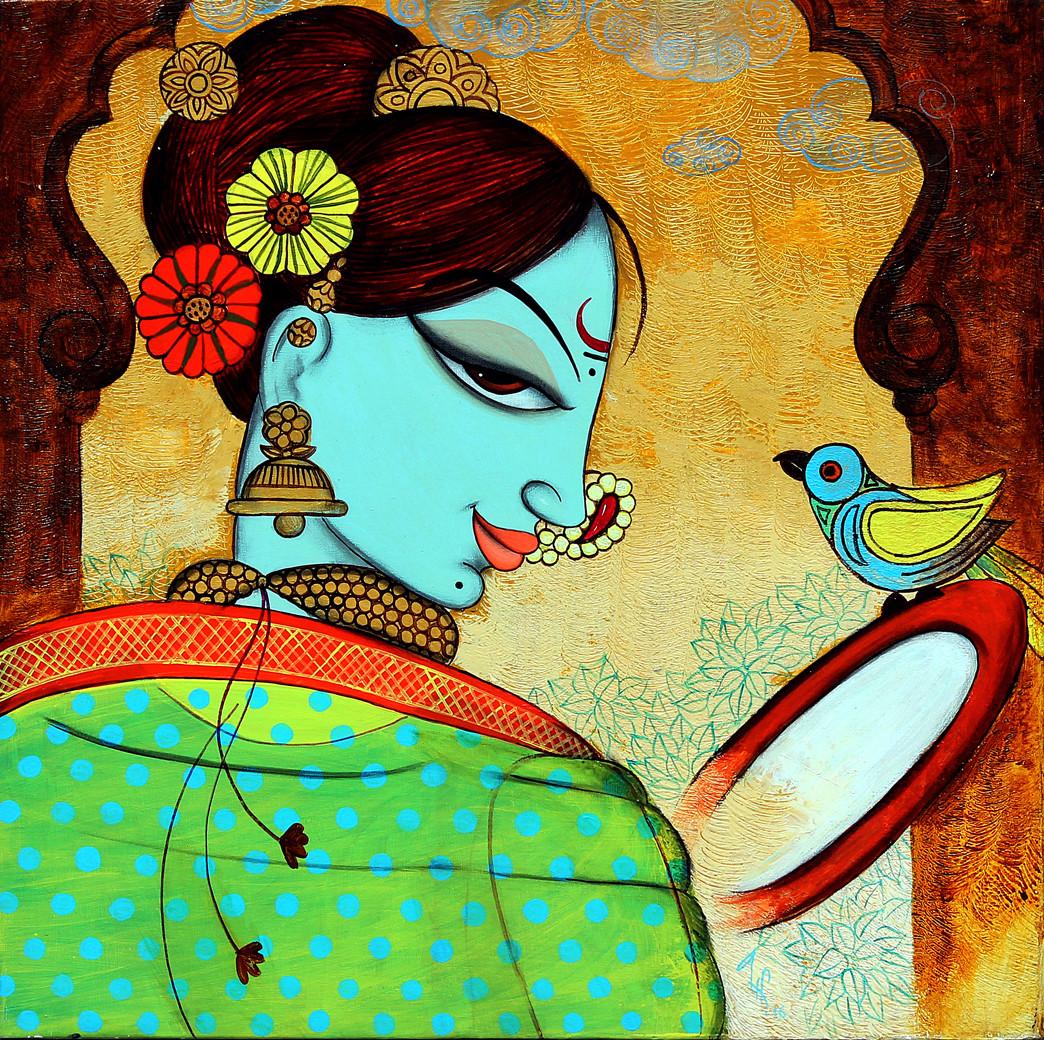 shingar 5 by Varsha Kharatmal, Decorative Painting, Acrylic on Canvas, Brown color