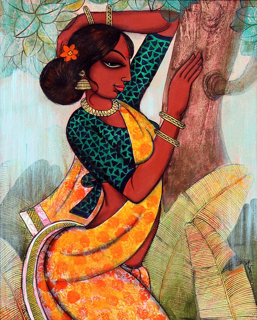 rhythmic beauty... by Varsha Kharatmal, Decorative Painting, Acrylic on Canvas, Brown color