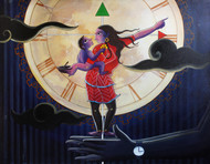 Time Less Lifestyle by KS Guruprasad, Conceptual Painting, Acrylic on Canvas, Blue color