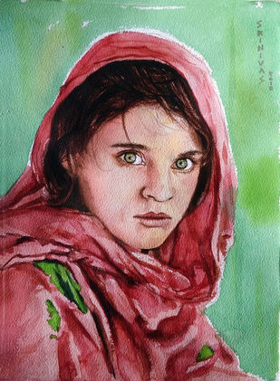 Afghan Girl by Sreenivasa Ram Makineedi, Impressionism Painting, Watercolor on Paper, Brown color