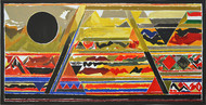 Bharat by S H Raza, Geometrical Printmaking, Serigraph on Paper, Brown color