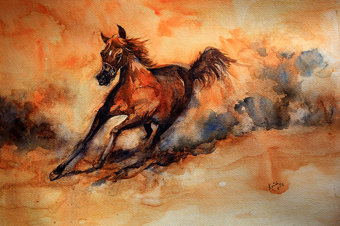 Rising Power by Krishnendu Chatterjee, Impressionism Painting, Watercolor Wash on Paper, Brown color