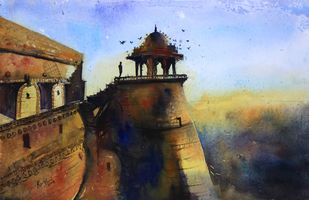 Jaisalmer by Krishnendu Chatterjee, Impressionism Painting, Watercolor Wash on Paper, Brown color