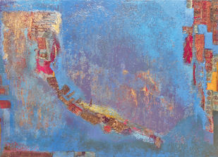 Reverberating Silence by Sonu Sandhu, Abstract Painting, Mixed Media on Canvas, Blue color