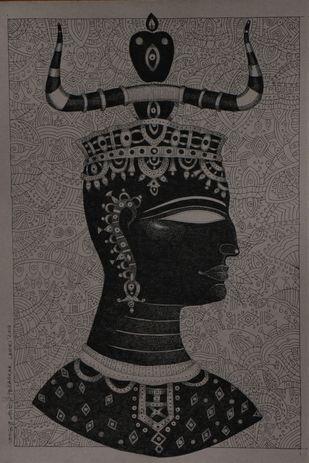 Ancient Love c by Bhaskar Lahiri, Illustration Drawing, Pen & Ink on Paper, Gray color
