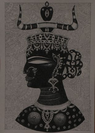Ancient Love D by Bhaskar Lahiri, Illustration Drawing, Pen & Ink on Paper, Gray color