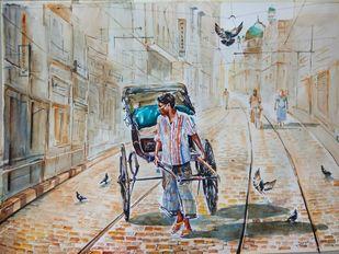Kolkata Cityscape.. Calcutta Rickshaw by Avanish Trivedi, Impressionism Painting, Watercolor on Paper, Gray color