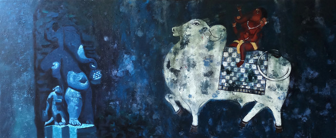 Ganesha I by Monica Ghule, Expressionism Painting, Acrylic on Canvas, Blue color