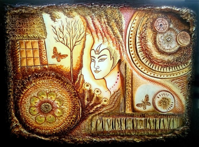 ILLUMINATION OF THE MIND WITH DIVINE GNOSIS by Anant Solomon, Expressionism Sculpture | 3D, Mixed Media on Board, Licorice color