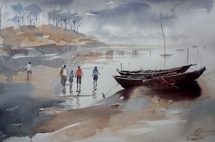 Sky meeting the horizon by Sajal K. Mitra, Impressionism Painting, Watercolor on Paper, Gray color