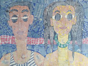 The Couple by Ramakanth Ponnaganti, Expressionism Painting, Mixed Media on Paper, Beige color