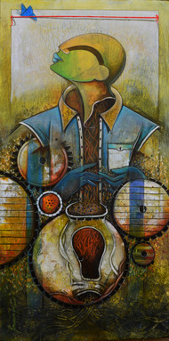 to cross the red line by anupam pal, Decorative Painting, Mixed Media on Canvas, Brown color