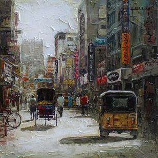 Madurai St by Iruvan Karunakaran, Expressionism Painting, Acrylic on Canvas, Gray color