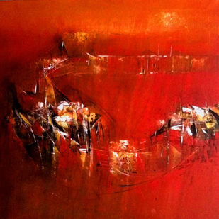 RED VIII by Dnyaneshwar Dhavale , Abstract Painting, Acrylic on Canvas, Red color