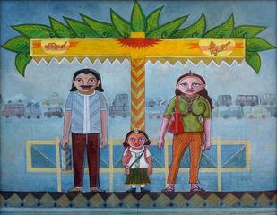 Morning bus stop by KS Guruprasad, Pop Art Painting, Acrylic on Canvas, Green color