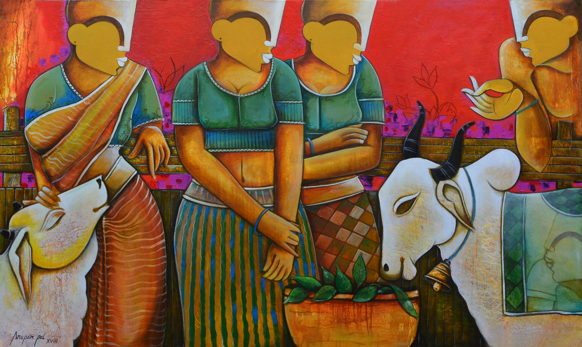 conversation 22 by anupam pal, Decorative Painting, Acrylic on Canvas, Brown color