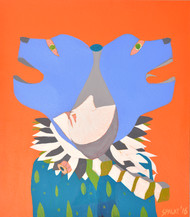The Joker by Shantala Palat, Expressionism Painting, Acrylic on Canvas, Orange color
