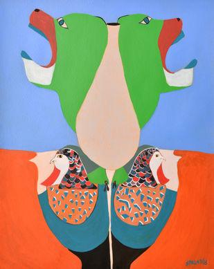 Twitterati! by Shantala Palat, Conceptual Painting, Acrylic on Paper, Cyan color