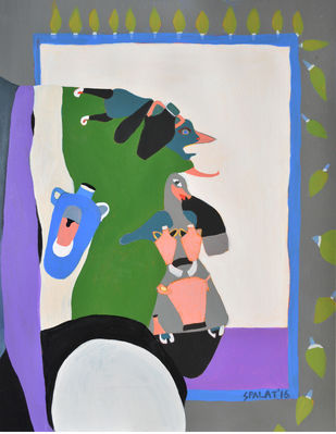 The Good Samaritan by Shantala Palat, Expressionism Painting, Acrylic on Canvas, Gray color