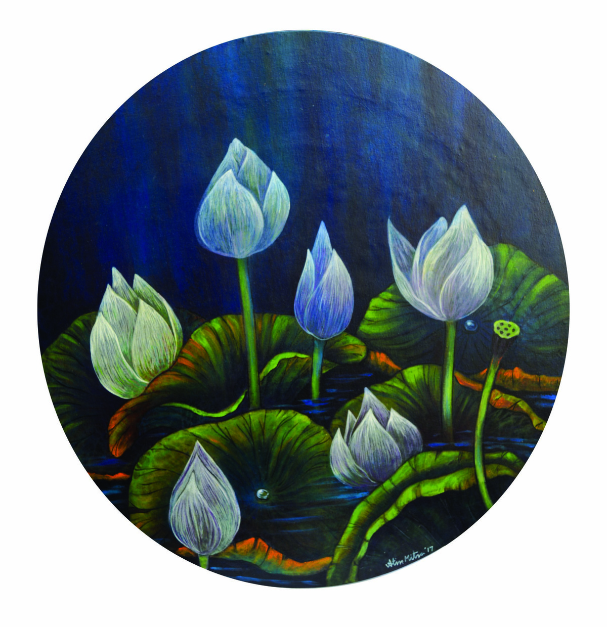 lotus 15 by Atin Mitra, Impressionism Painting, Mixed Media on Canvas, Gray color