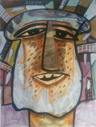 Urbian Man-2 by yashpal gambhir, Expressionism Painting, Acrylic on Paper, Brown color