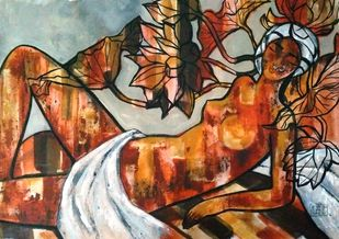 Divine thoughts by Suruchi Jamkar, Expressionism Painting, Acrylic on Canvas, Brown color