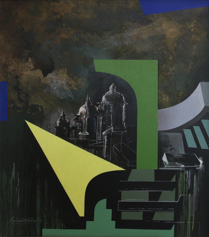 JANTAR MANTAR by Krishnendu Porel, Geometrical Painting, Acrylic on Canvas, Gray color