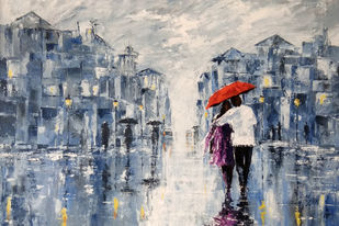 Couple in rainy day by Sunil Linus De, Impressionism Painting, Acrylic on Canvas, Green color