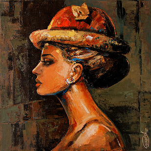 Beauty of Audrey # Hostel Series_5 by gurdish pannu, Expressionism Painting, Acrylic on Canvas, Brown color