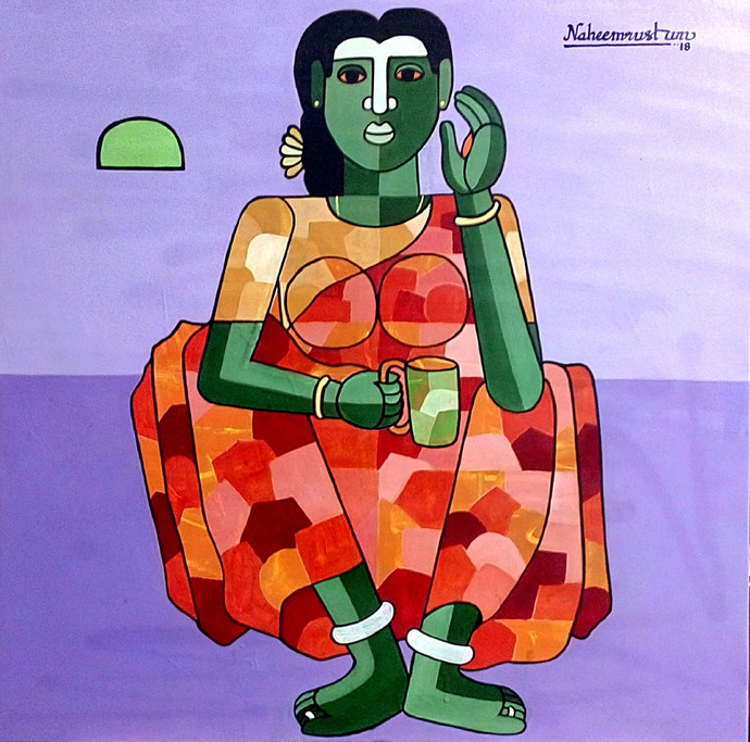 vanitha by Naheem Rustum, Decorative Painting, Acrylic on Canvas, Blue color