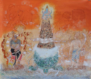 Koormavatara by Giridhar Gowd, Traditional Painting, Acrylic on Canvas, Brown color