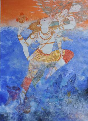 Varahavatara by Giridhar Gowd, Traditional Painting, Acrylic on Canvas, Blue color